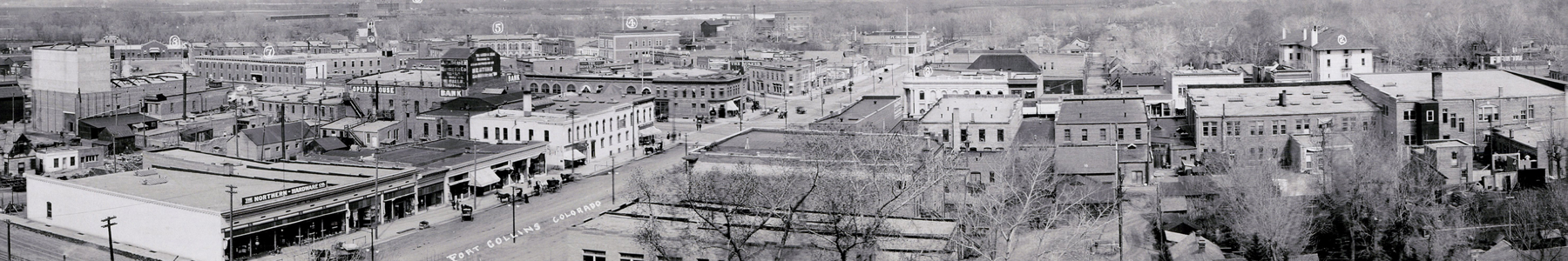 Panorama of Fort Collins, circa 1912, taken from the roof of the old Larimer County Courthouse